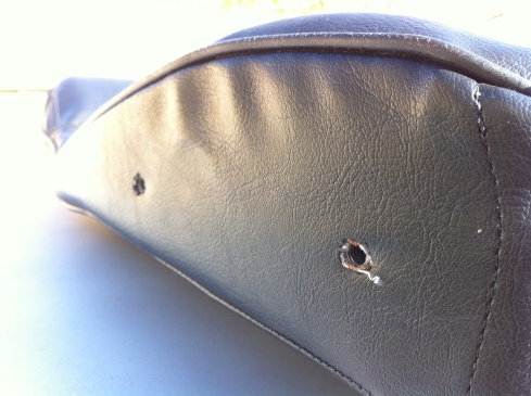 1976 280z seat cover - seat arm holes