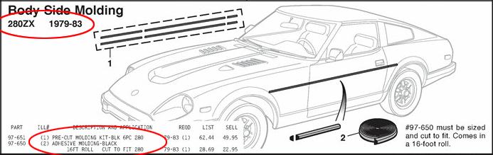 Adhesive molding from BlackDragonAuto catalog