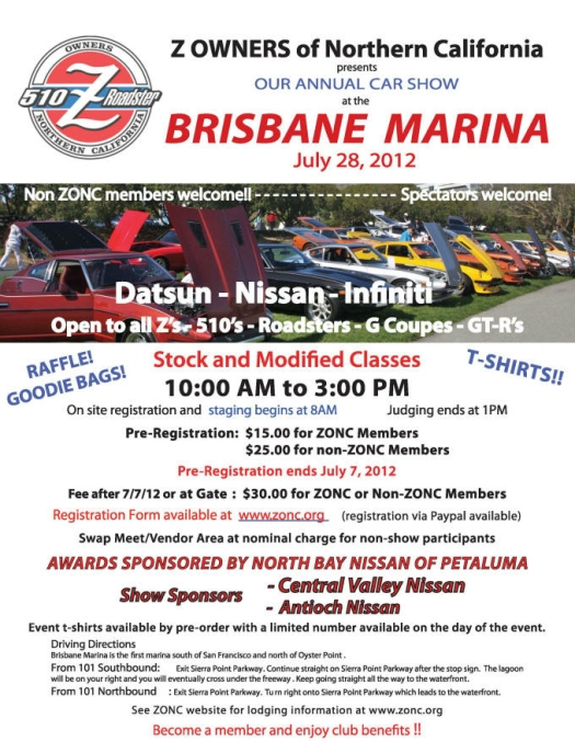 Flyer for ZONC's Annual Car Show at the Brisbane Marina