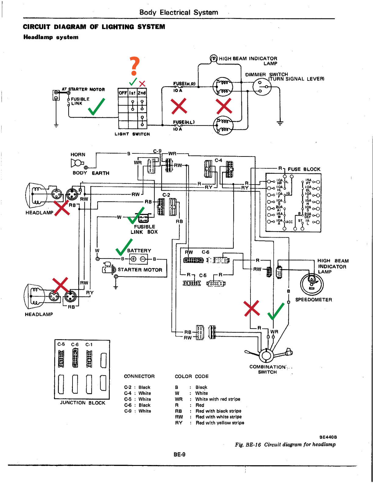 daily datsun 280z fsm be 9 goodbad electrics the daily datsun 1976 280z wiring diagram at bayanpartner.co
